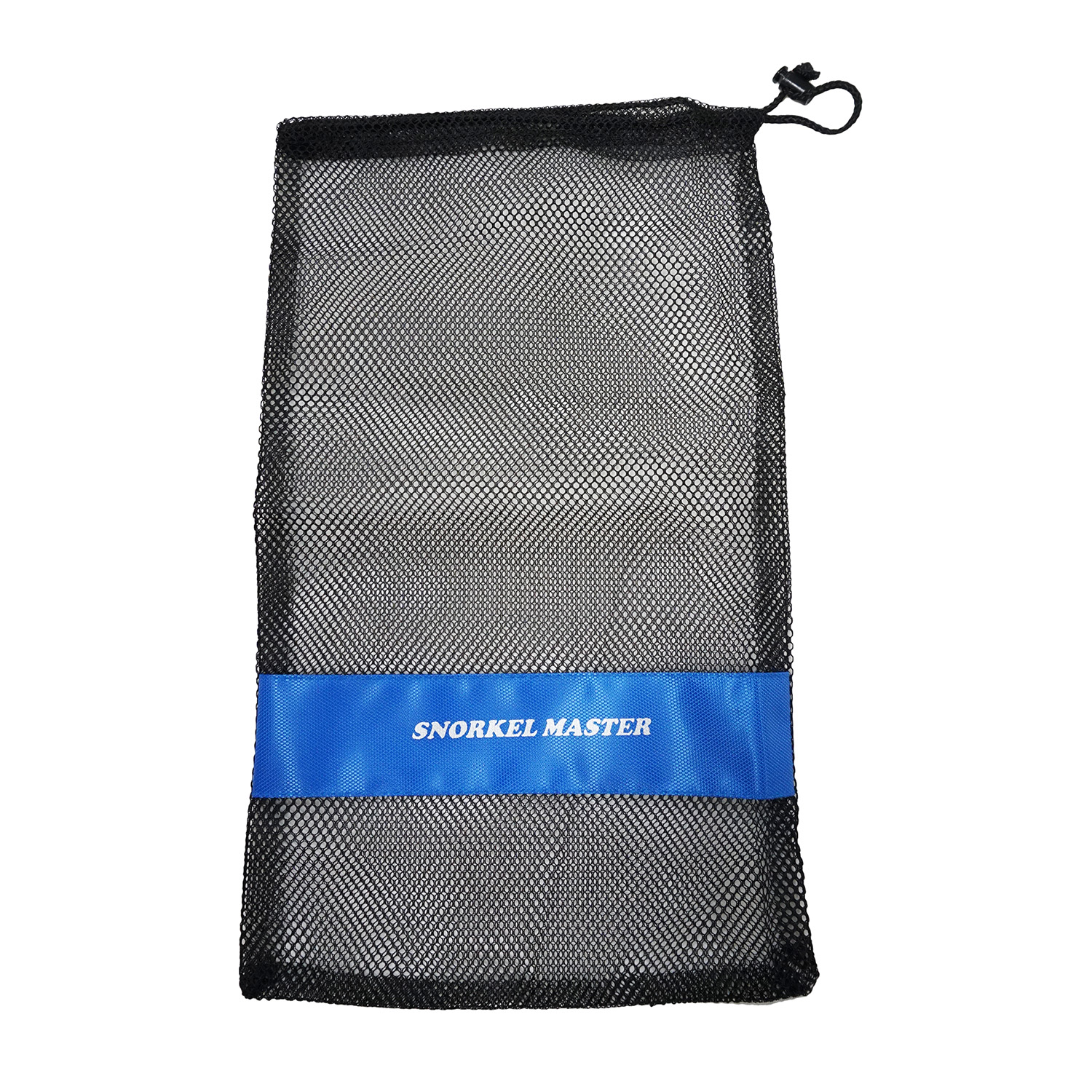 "Click here to buy Snorkel Master Snorkeling Drawstring Mesh Bag w  Blue Bar- 19"" x 10"" by Scuba Choice."