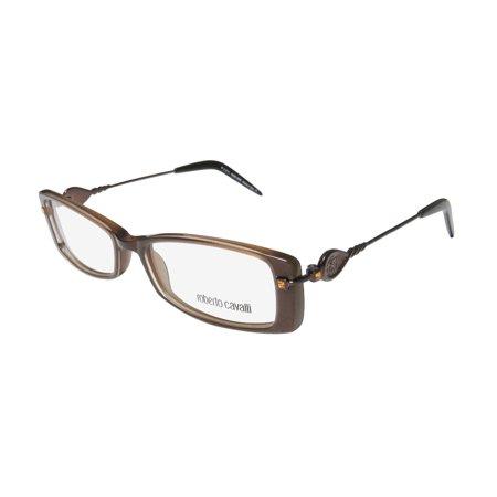 New Roberto Cavalli Corbezzolo 636 Womens/Ladies Designer Full-Rim Brown / Glitter Sleek With Rhinestones Frame Demo Lenses 53-16-135 Rhinestones Eyeglasses/Eye (636 Glasses)
