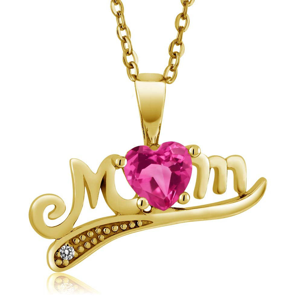 0.61 Ct Pink Created Sapphire White Diamond 18K Yellow Gold Plated Silver Pendant by