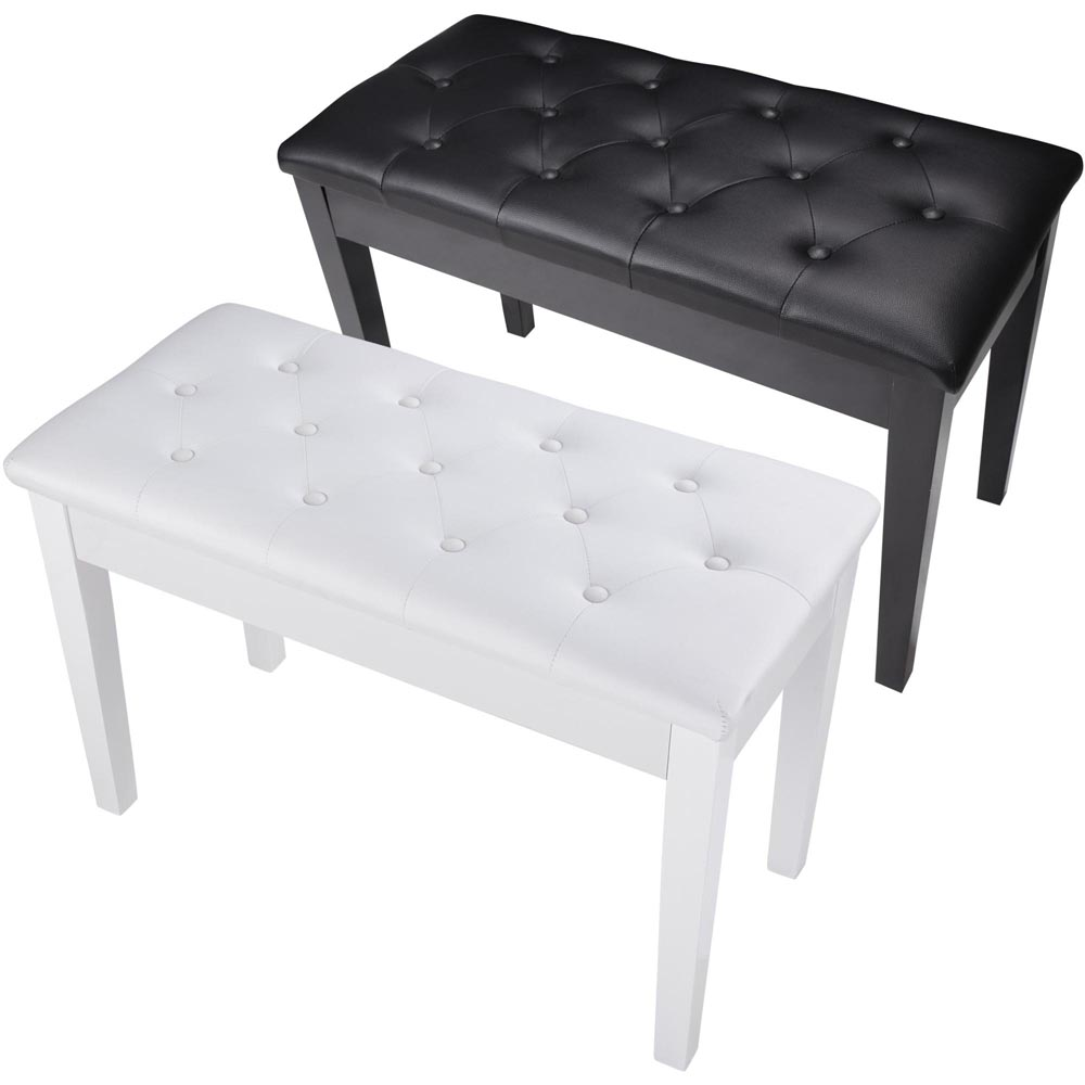 Piano Bench Dual PU Padded Keyboard Double Storage Seat Music Hobby Black & White Opt
