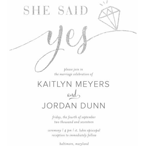 She Said Yes Standard Wedding Invitation Walmartcom