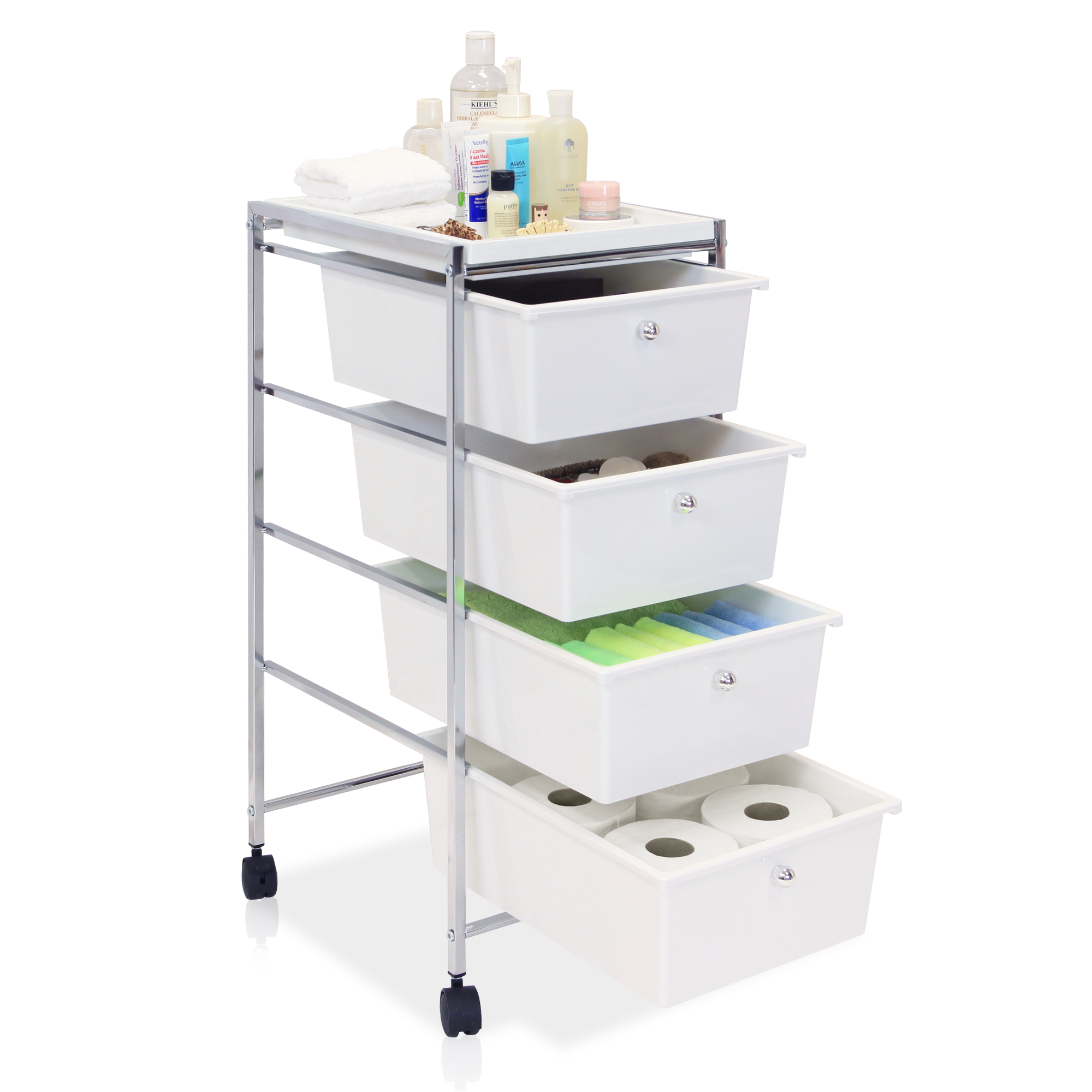 dp kitchen amazon com cart bin large white classics drawers frosted seville organizer home drawer storage