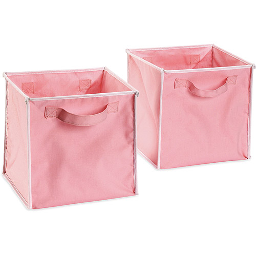 Seed Sprout   Set Of 2 Canvas Pop Up Storage Totes, Pink