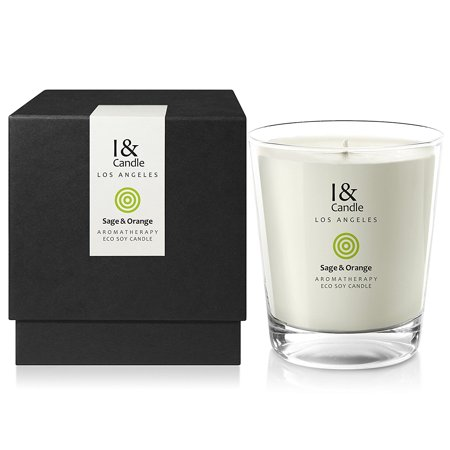 I & CANDLE, SAGE & ORANGE AROMATHERAPY ECO SOY CANDLE. 10.5 OZ NET WT / 297 G