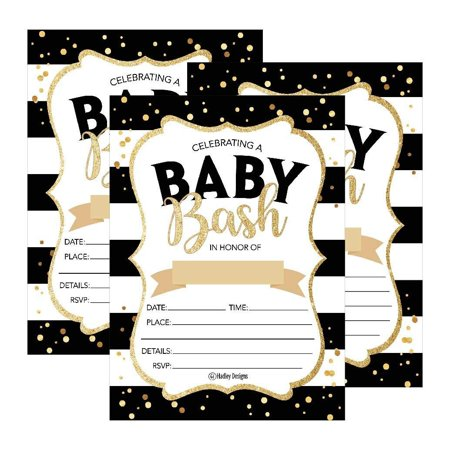 Blank Invitations - 25 Black Gold Bash Baby Shower Invitations, Cute Printed Fill or Write In Blank Invite for boys or girls, Printable Shabby Chic Unique Custom Vintage Coed Twin Sprinkle Party Card Stock Paper Supplies