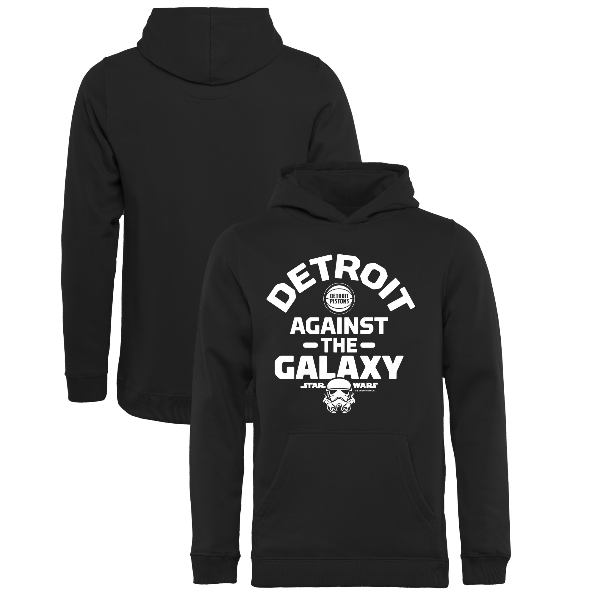 Detroit Pistons Fanatics Branded Youth Star Wars Against the Galaxy Pullover Hoodie - Black