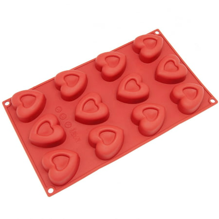 Freshware 12-Cavity Small Valentine Heart Silicone Mold for Muffin, Soap, Cupcake, Chocolate, Pudding and Jello, SM-110RD