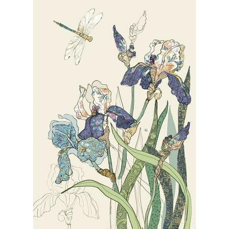 - Bug Art Bearded Irises and Single Dragonfly Blank Note Card
