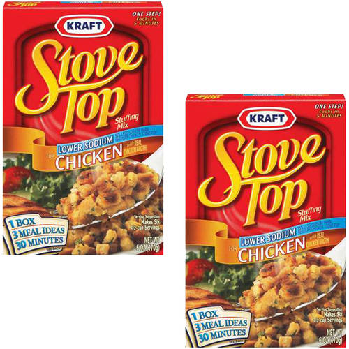 Kraft Stove Top Stuffing Mix Chicken Lower Sodium, 6 oz (Pack of 2)