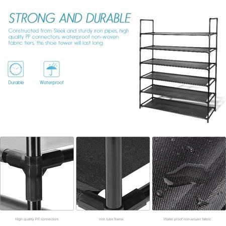 6-Tier Shoe Rack, 30-Pair Shoes Storage Organizer, Stackable Entryway Shoes Shelf, Black - image 3 of 6