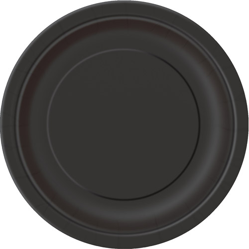 "Solid Black 7"" Plates, 24 Count"