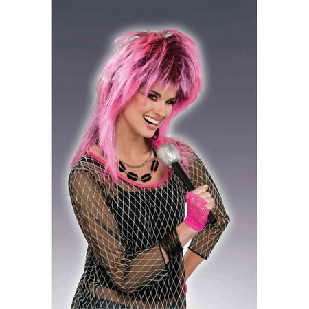 80s Electric Pink Adult Halloween Costume Accessory Wig - Short Pink Wigs