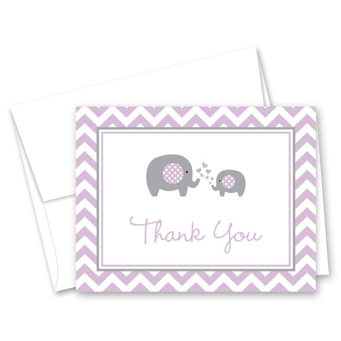 50 Purple Chevron Elephant Baby Shower Thank You Cards Walmart Com