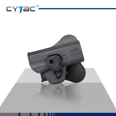 CYTAC S&W Paddle Holster with Trigger Release 360 degree Adjustable Cant, Polymer Holster Injection Molded for S&W M&P Compact / Girsan MC 28 SAC OWB Carry, RH | 7 attachment (Best M&p Trigger Job)