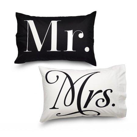 Mr & Mrs Pillows (Where the Polka Dots Roam Pillowcase Set Ultra Microfiber MR and MRs Theme - Queen)