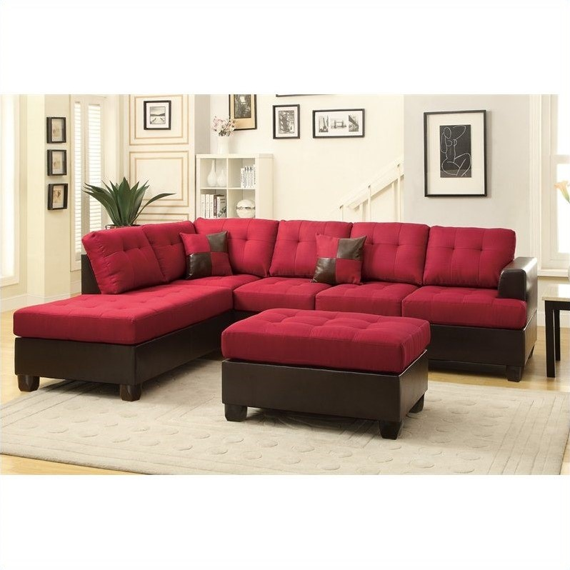 Kingfisher Lane 3 Piece Reversible Sectional Sofa in Carmine