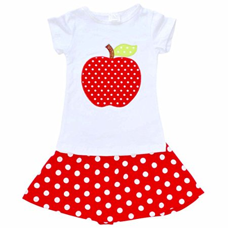 Unique Baby Girls Back To School Apple Skirt Boutique Outfit 8 Xxxl Red