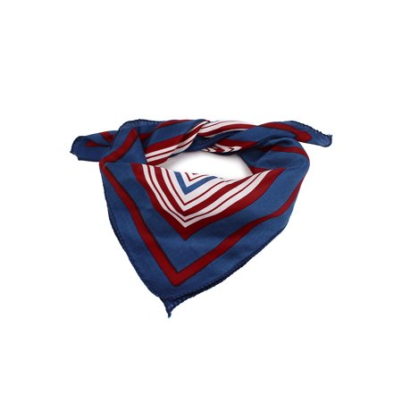 Lady Business Party Red Blue White Stripe Pattern Neck Scarf Kerchief 50cmx50cm