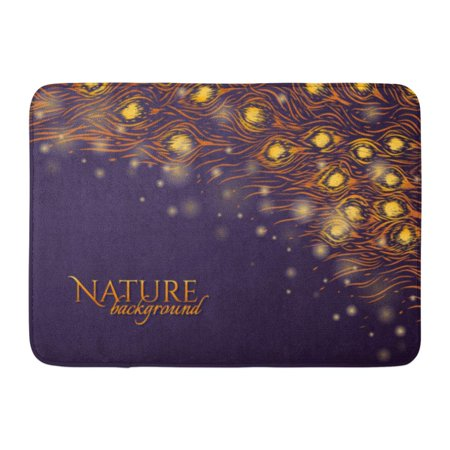 - GODPOK Black Dark Purple with Feathers and Gold Glow Nature Graphic Design for Cosmetic Tail of Peacock Yellow Rug Doormat Bath Mat 23.6x15.7 inch