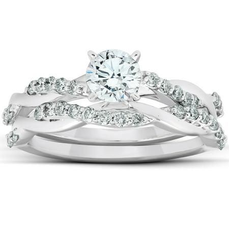 3/4Ct Diamond Infinity Engagement Ring Set 14k White Gold Maching Wedding