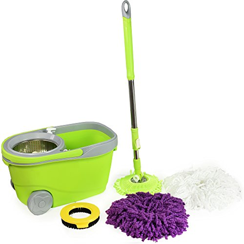 Spin Mop and Bucket Deluxe Cleaning System with Microfibe...
