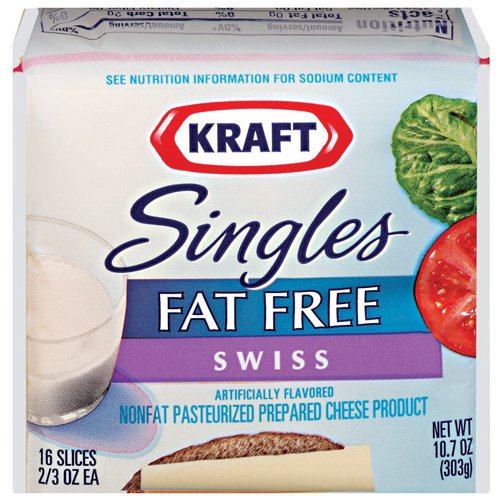 Kraft Singles Swiss Fat Free 16 ct Cheese Slices, 10.7 oz