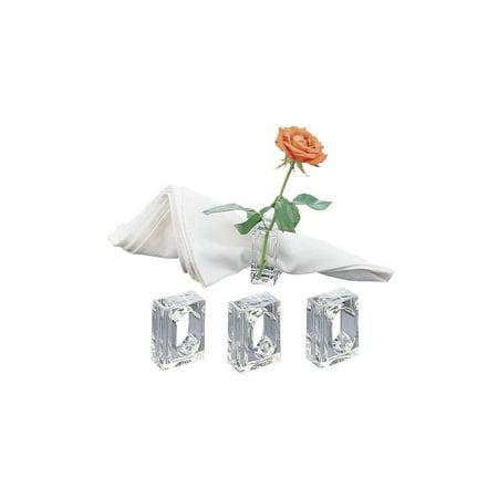 Acrylic Lucite Set Of 4 Flower Bud Square Napkin Ring Walmart