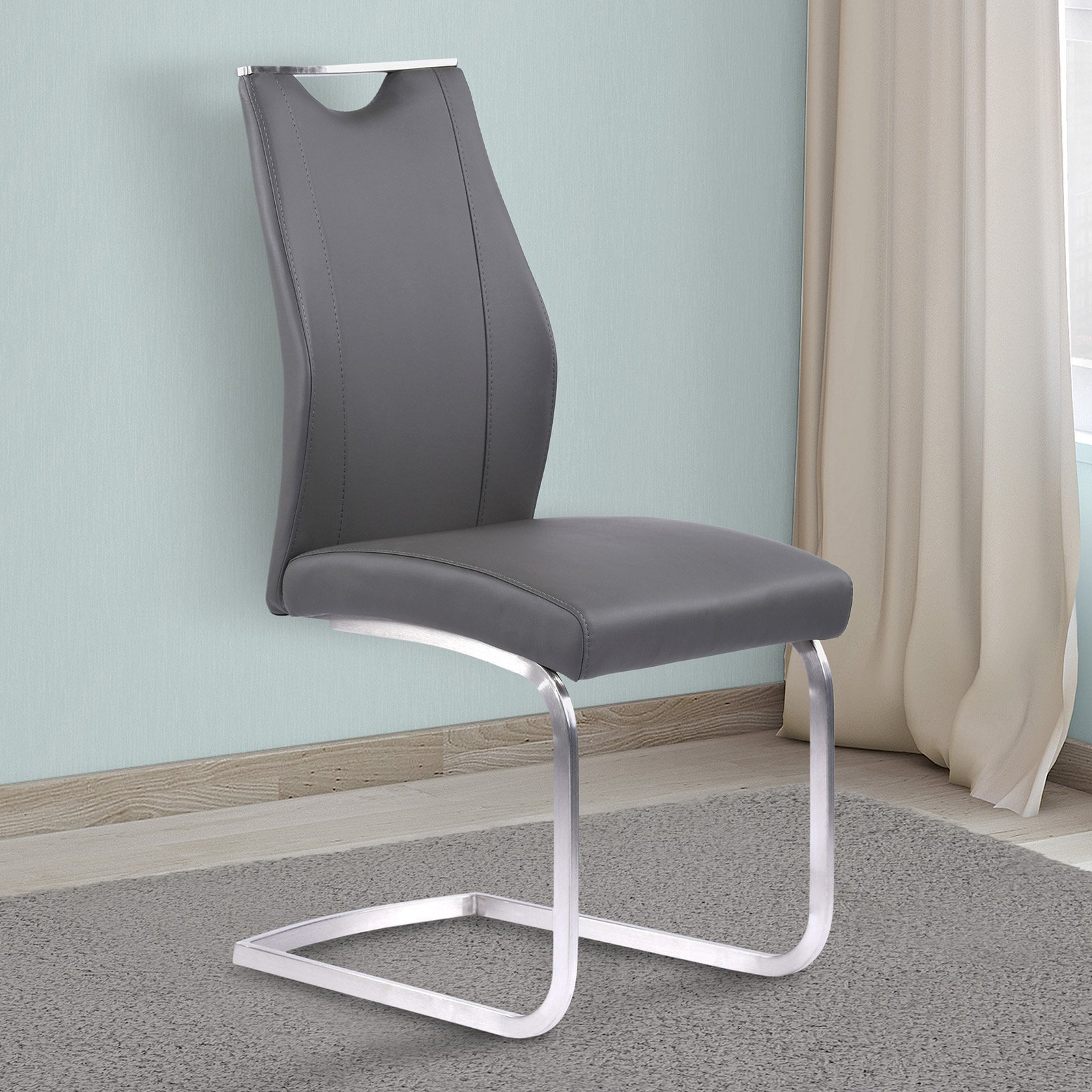buy popular ee4a3 72774 Armen Living Bravo Contemporary Dining Chair in Gray Faux Leather and  Brushed Stainless Steel Finish - Set of 2