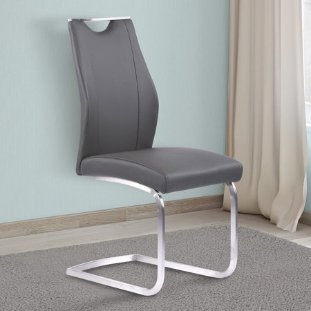 Armen Living Bravo Contemporary Dining Chair in Gray Faux Leather and Brushed Stainless Steel Finish - Set of