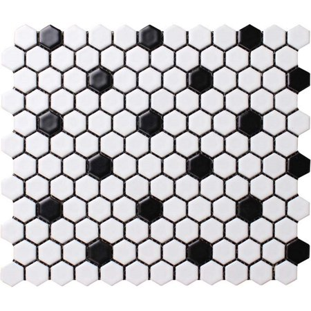 Value Series 1'' x 1'' Hexagon Porcelain Mosaic Tile in Matte White with Black