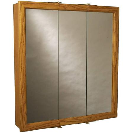 Zenith K30 Oak Framed Tri-View Mirror Medicine Cabinet