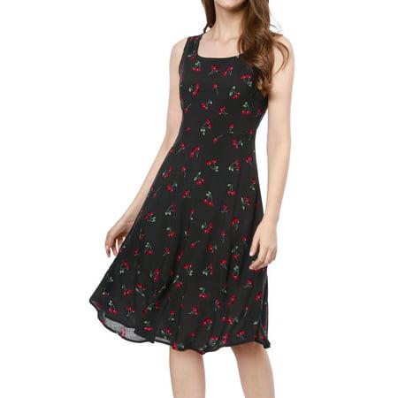 1950s Swing Dress (Women's Elegant 1950s Sleeveless Cherry Print Flare Vintage Swing Midi Dress Skirt Black XL (US 18) )