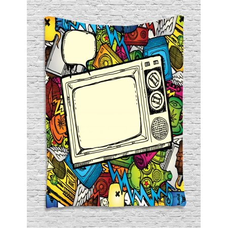 Hip Hop Tapestry, 90s Theme Retro Style Linear Drawn Icons a Vintage Television and Speech Bubble, Wall Hanging for Bedroom Living Room Dorm Decor, 40W X 60L Inches, Multicolor, by Ambesonne