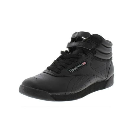 Reebok Womens Freestyle  Leather High Top Athletic Shoes Black 6 Medium (B,M)