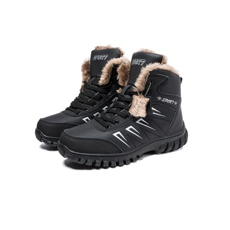 Men's Lace Up Cotton Snow Boots Large Size Winter Flat Platform Sneaker Shoes Warm Ankle Boots ()