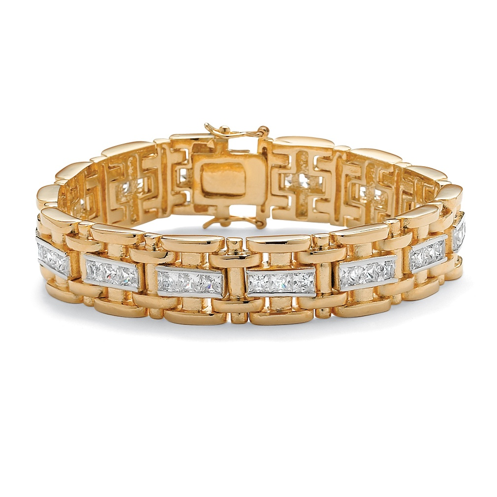 Men's 10.35 TCW Square Cubic Zirconia 14k Gold-Plated Bar-Link Bracelet 8.25""