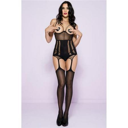 Music Legs 1615-BLACK Shredded Peek A Boo Suspender Bodystocking, Black
