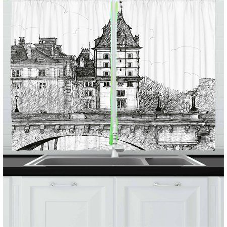 Paris Curtains 2 Panels Set, View from the Pont Neuf Historical French Landmark Urban Architecture Drawing, Window Drapes for Living Room Bedroom, 55W X 39L Inches, Black and White, by Ambesonne