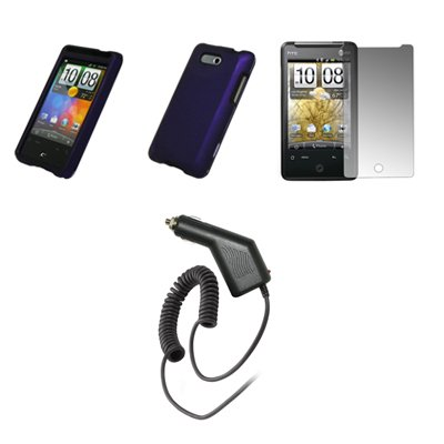 HTC Aria - Purple Rubberized Snap-On Cover Hard Case Cell Phone Protector + Crystal Clear Screen Protector + Rapid Car Charger for HTC Aria Cell Phone Rapid Car Battery