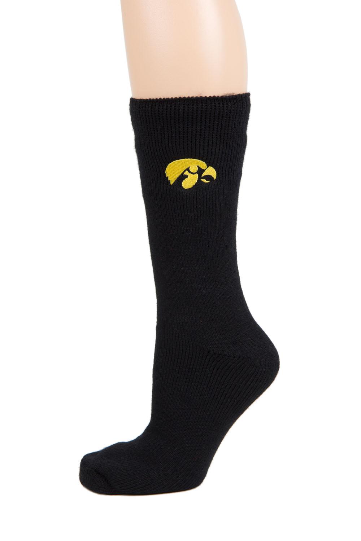 Iowa Hawkeye Black Thermal Sock by Donegal Bay