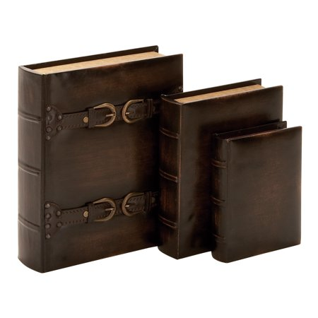 Decmode Wooden 8, 10, And 13 Inch Book Boxes With Leather Buckle And Strap Accents, Walnut Brown - Set of 3