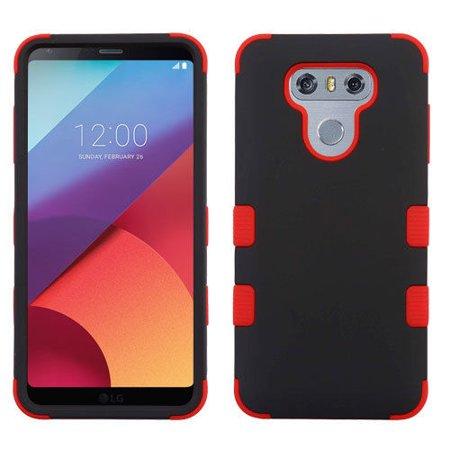 innovative design c5dbe 78b58 LG G6 Case - Wydan Tuff Hybrid Shockproof Case Protective Heavy Duty Phone  Cover - Black on Red