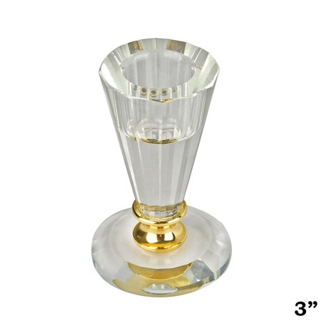 "BalsaCircle 3"" tall Clear and Gold Glass Crystal Candle Holder with Metal Stem - Home Party Wedding Decorations Gifts"