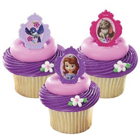 24 Sofia The First Friends Cupcake Cake Rings Birthday Party Favors Toppers (Sofia The First Decorations)