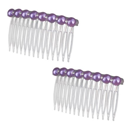 Girl Plastic Pearl Rhinestone Decor 14 Teeth Hair Clip Comb 2 - Pink Purple And Blue Hair Extensions