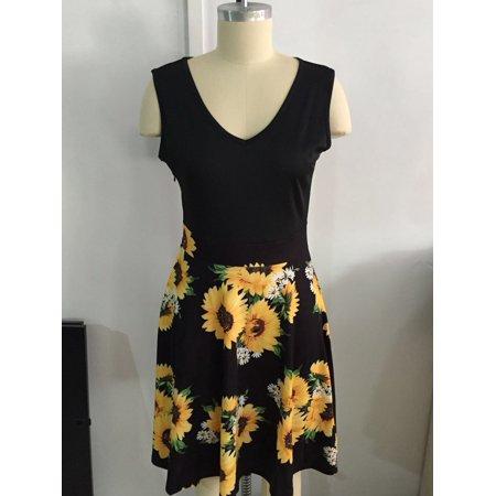 Summer Women Dress Sleeveless Defined Waist V-neck Fashion Print Dress - image 2 of 3