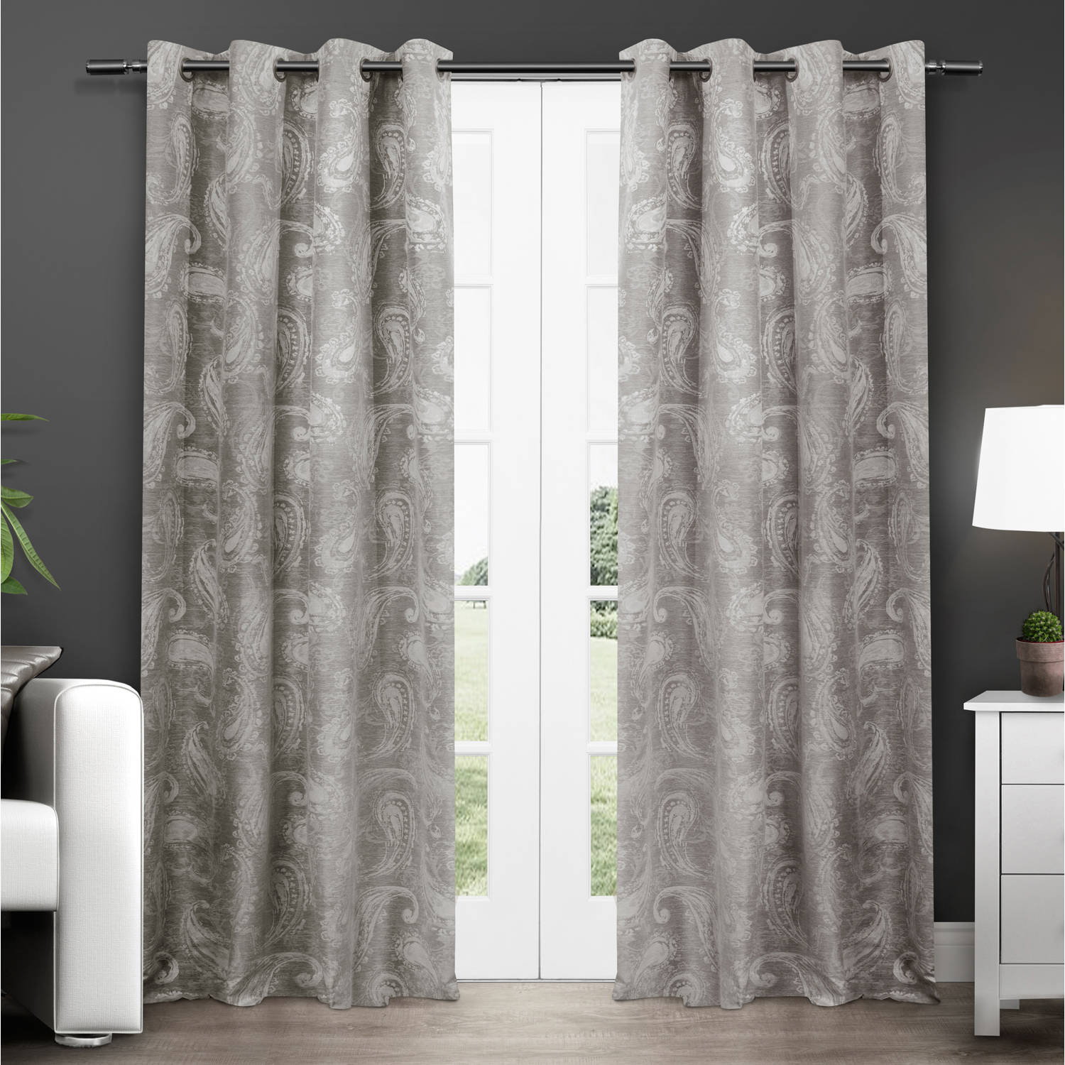 "Exclusive Home Bangalore Paisley Thermal Grommet Top Window Curtain Panels, 54"" x 84"", Ash Grey, Set of 2"