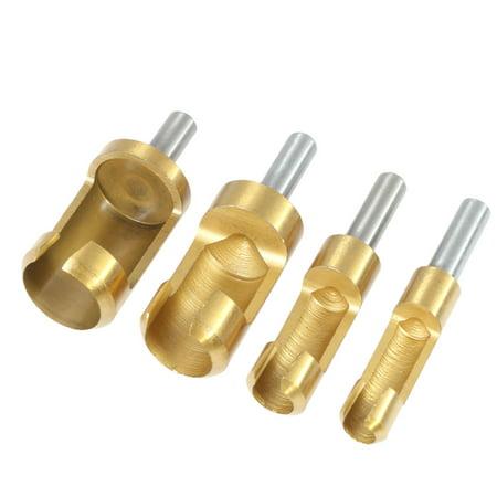 """4pcs/set 1/4"""" Shank Titanium Barrel Cork Drill Plug Cutter Drill Bit Bored Hole Wood Tenon Drill Hole Saw Arbors Handy Woodworking Tool 6mm 8mm 13mm 16mm"""