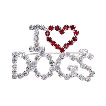 cocojewelry I LOVE Dogs Word Red Heart Brooch Pin Fashion Jewelry