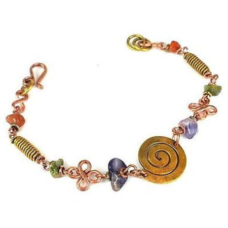 (Handcrafted Copper, Brass, and Agate Bracelet with Copper Swirl - Zakali Creations)